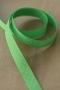 Лента атласная белый горошек на зеленом