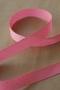 Лента атласная белый горошек на розовом